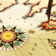 Ancient world map and compass - Stock Photo
