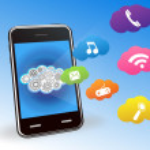 Vector smart phone cloud applications — Stock Vector