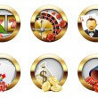 Casino and gambling buttons — Stok Vektör