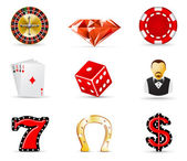 Casino en gokken pictogrammen 1 — Stockvector