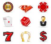 Casino et jeux de hasard icônes 1 — Vecteur