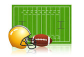 American football field with ball and helmet — Stock Vector