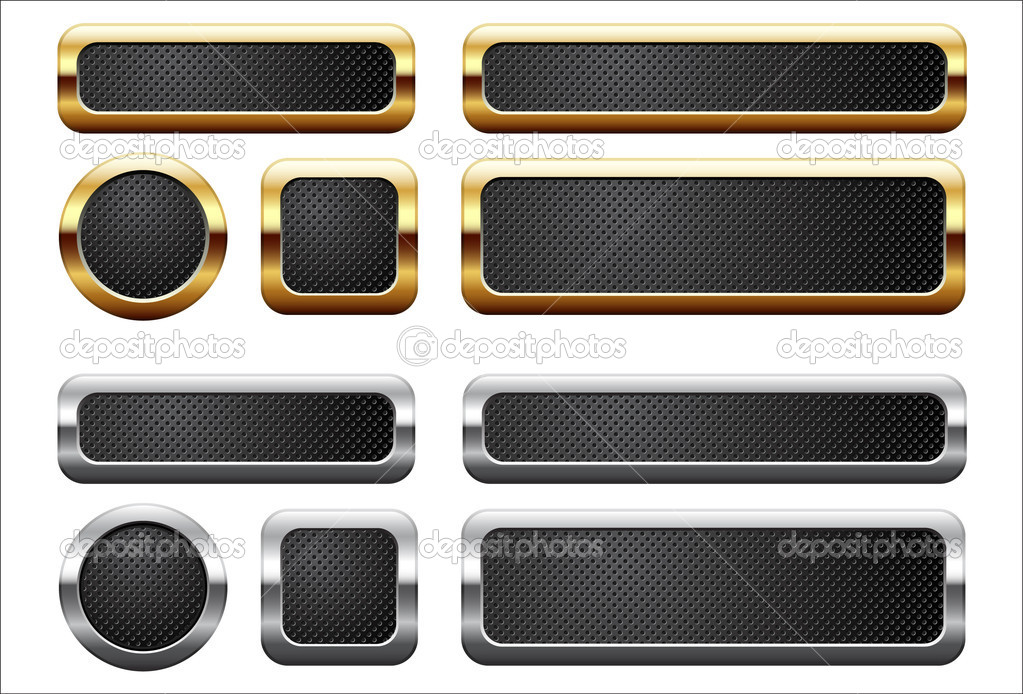 Metallic and golden buttons  Stock Vector #5402600