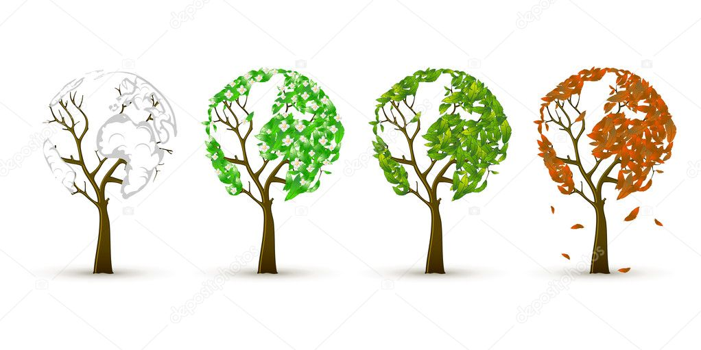 4 trees in four seasons — Stock Vector #5402777