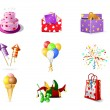 Birthday icons - Stok Vektör