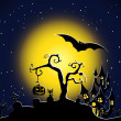 Stock Vector: Halloween night scene