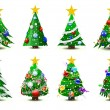 Stock Vector: Decorated christmas trees