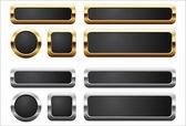 Metalik ve altın düğmeler — Stok Vektör
