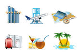 Vacation and travel icons — Vector de stock
