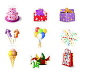 Birthday icons — Stok Vektör