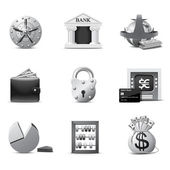 Bank icons | B&W series — Stok Vektör
