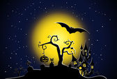 Halloween night scene — Stock Vector