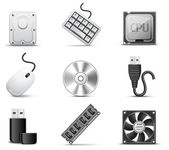 Computer parts | B&W series — Stockvector