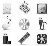 Computer parts | B&W series — Stock Vector