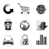 Web icons | B&W series — Stock Vector