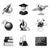 Science icons | B&W series — Stock Vector