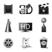 Movie icons | B&W series — Stock Vector