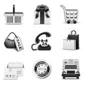 шоппинг иконки   b&w серии — Cтоковый вектор