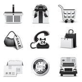 Shopping icons | B&W series — ストックベクタ