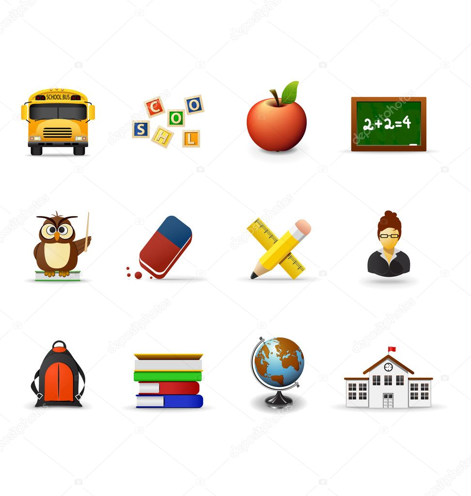 School icons, part 1 — Stock Vector #5694347