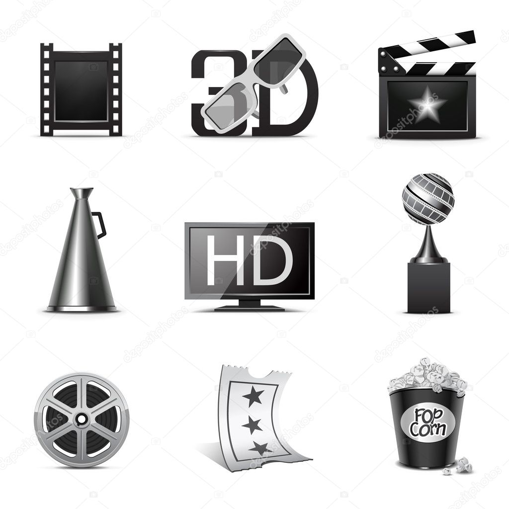 Movie icons | B&W series — Stock Vector #5694517