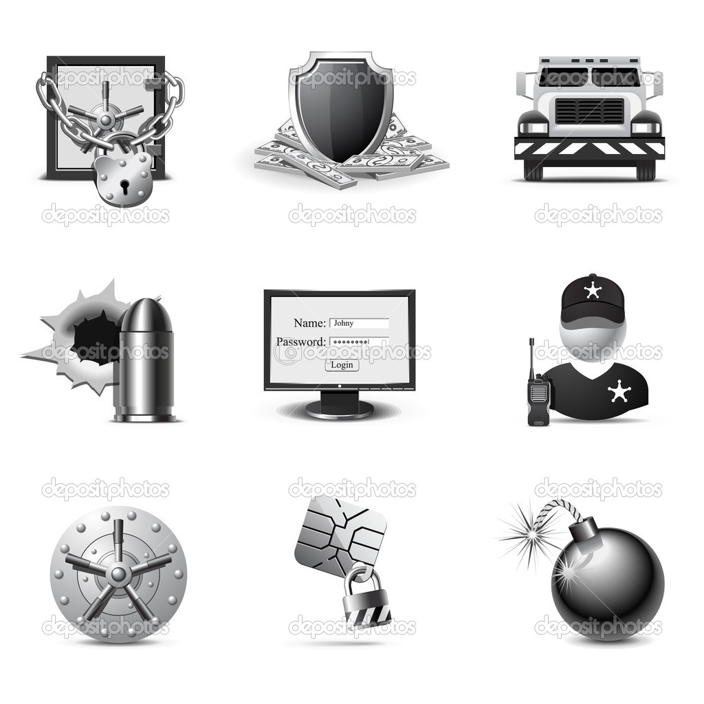 Bank security icons | B&W series — Stock Vector #5694533