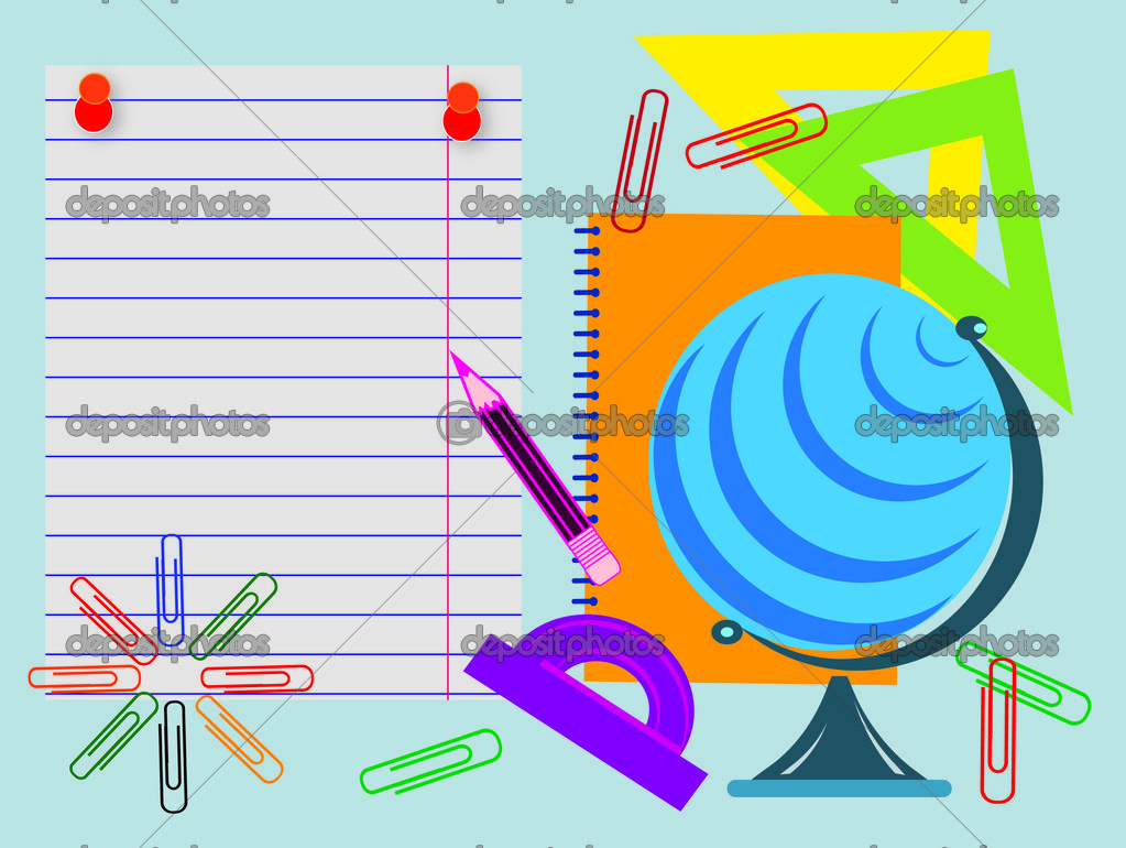 School objects,globe,clip,pin,triangle,pencil,  Stock Photo #6234315