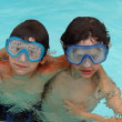 Stock Photo: Two boys in swimming pool