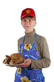 The chicken by a dinner. — Stock Photo