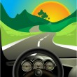 Driving on long road — Stock Vector