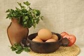 Vegetables and eggs — Stock Photo