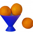 Oranges in a dark blue vase — Stock Photo