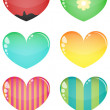 Stock Vector: Vector glass hearts, isolated