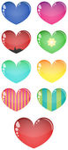 Corações de vidro vetor, isoladas — Vetor de Stock