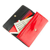 Open red clutch — Stock Photo