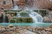 Thermal water for bathing.Saturnia, famous in Tuscany — Stock Photo