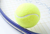 Ball and tennis racket — Stock Photo