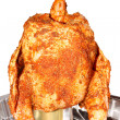Seasoned chicken with a can of beer isolated — Stock Photo