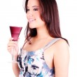 Portrait of relaxing woman drinking — Stock Photo