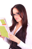 Charming woman reading news — Stock Photo