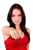 Business woman on white getting into a fight — Stock Photo