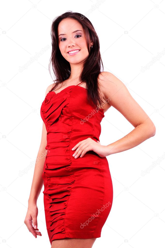 Lovely girl in red dress isolated — Stock Photo #5659116