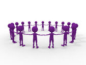 Many 3d humans hand to hand in a circle — Stock Photo