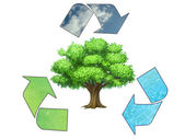 Save the earth - conceptual recycling symbol — Stok fotoğraf