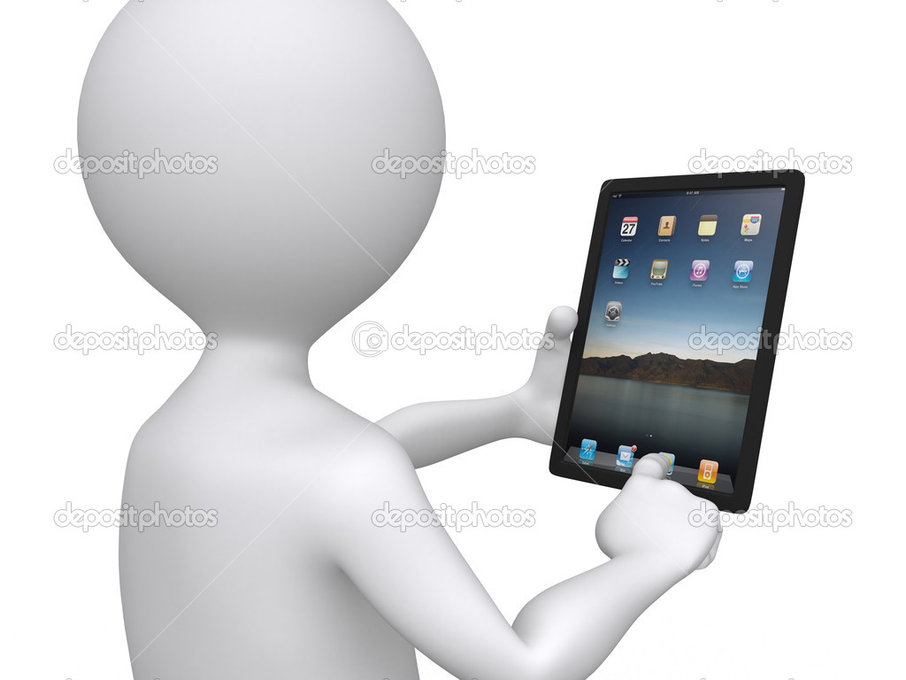 3D man holding a touchpad pc pressing one of the icons — Foto de Stock   #6413454