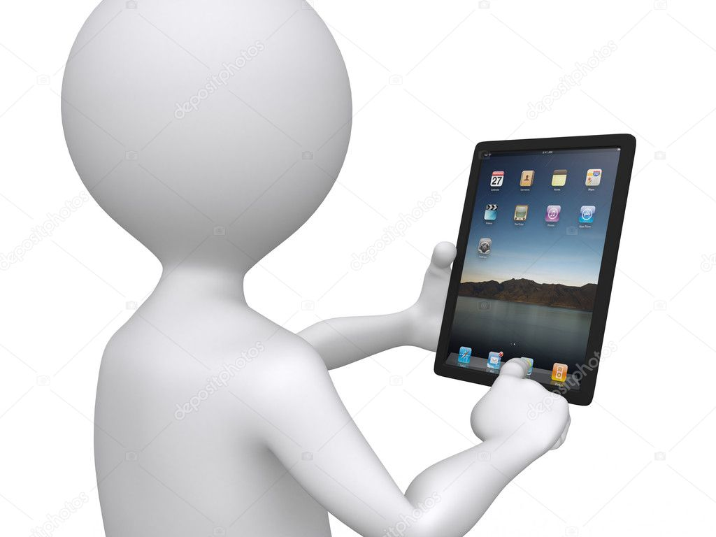 3D man holding a touchpad pc pressing one of the icons — Foto Stock #6413454