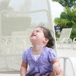 Cute happy one year old baby looking up in a relax place — Stock Photo #6506600