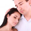 Man comforts woman. Isolated on a white background — Stock Photo
