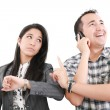 Give me one minute, caucasian mid adult person talking on cellph - Stockfoto