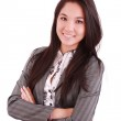 Portrait of a happy young business woman standing with folded ha — Stock Photo